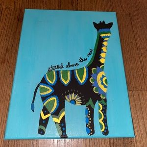 Blue canvas with pattern giraffe